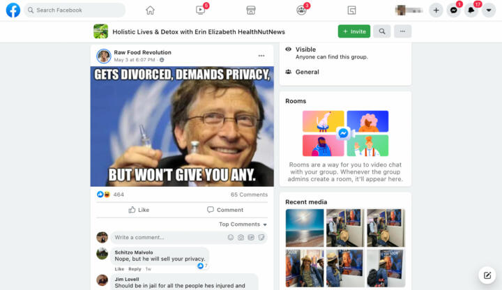 """A screenshot of a Facebook post made by """"Raw Food Revolution"""" on the group """"Holistic Lives & Detox with Erin Elizabeth"""". The post is a photo of Bill Gates holding a vaccine with the caption """"Gets Divorced, Demands Privacy, But Won't Give You Any"""""""