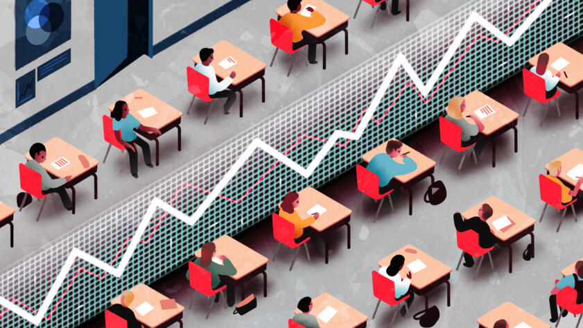 An illustration of a school classroom split in two by a massive line chart