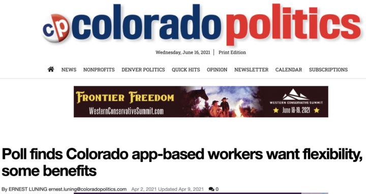 Screenshot of article in Colorado Politics citing coalition poll