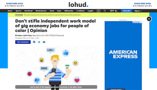 An op-ed on Lohud entitled Don't stifle independent work model of gig economy jobs for people of color