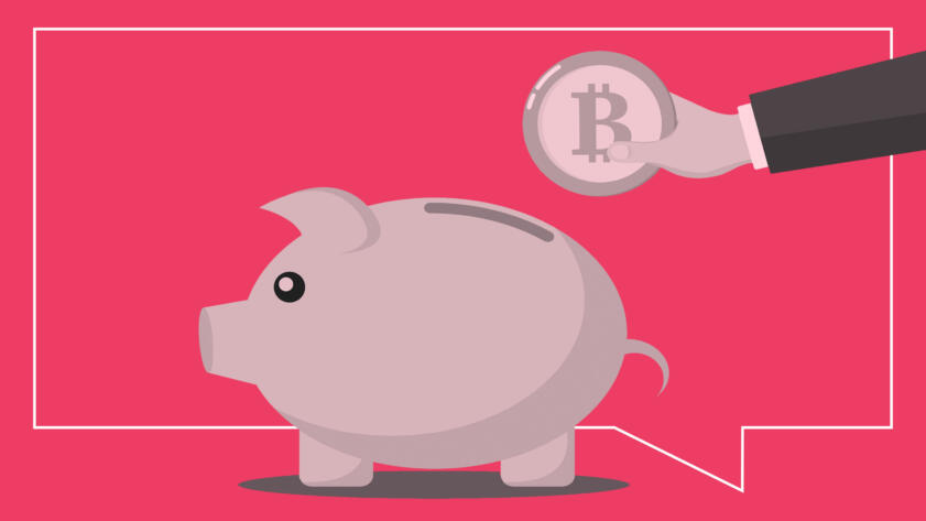 An arm clad in a suit reaches out with a Bitcoin in hand toward a piggy bank.