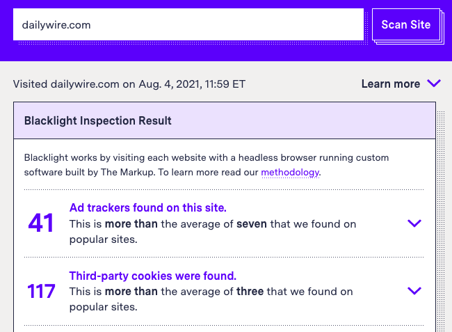 A screenshot of The Markup Blacklight page showing 41 ad trackers and 117 third-party cookies found in a Daily Wire scan