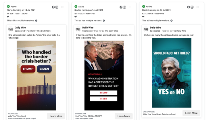 A sample of ads run by The Daily Wire, including two that ask Who handled the border crisis better, with a button for Trump and a button for Biden, and one that asks Should Fauci Get Fired?