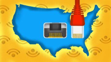 Illustration of the US with an ethernet port in the middle of it.