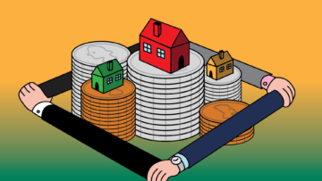 Illustration of three houses stacked on top of coins. Four arms with white skin tone are holding each other around the stack.