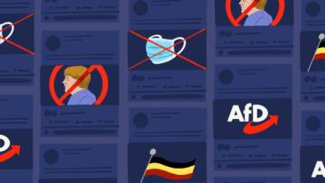 Illustration of an array of social media posts, featuring an x over Angela Merkel, an x over masks, and the AfD logo.