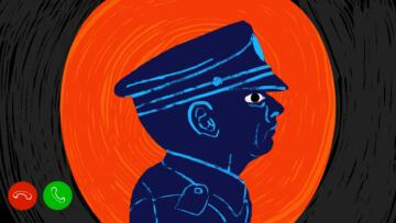 Illustration of police officer's side profile seen through the Ring app video.