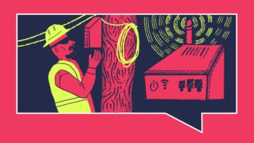 Illustration of man in construction hat and safety vest working at a utility pole. To the right of him is an internet router with wifi signals around it.