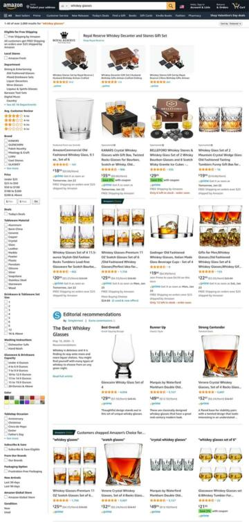 """A screenshot of Amazon's website showing the products and options when searching for """"whiskey glasses."""""""