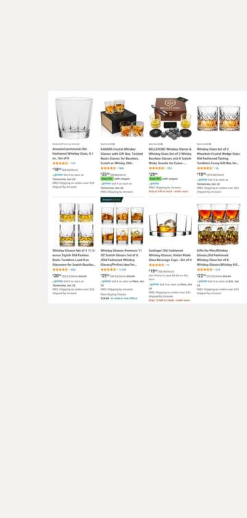 """A screenshot of Amazon's website showing what portion of the screen is considered """"search results."""""""