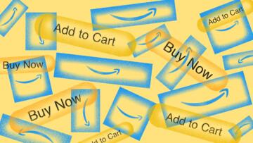 """Illustration of a pile of Amazon boxes with smiles on them, mixed with buttons that say """"Add to Cart"""" and """"Buy Now.'"""