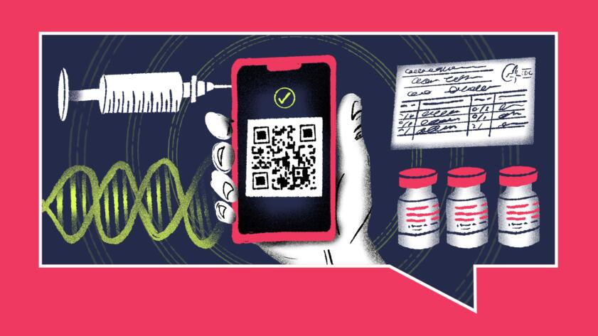Illustration of a hand holding a phone with a QR code and checkmark, surrounded by a vaccine card, a syringe, vaccine bottles and a DNA strand.