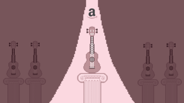 Illustration of an Amazon logo and a ray of light shining on a ukulele placed on a column. In the background there are several ukuleles on lower columns.