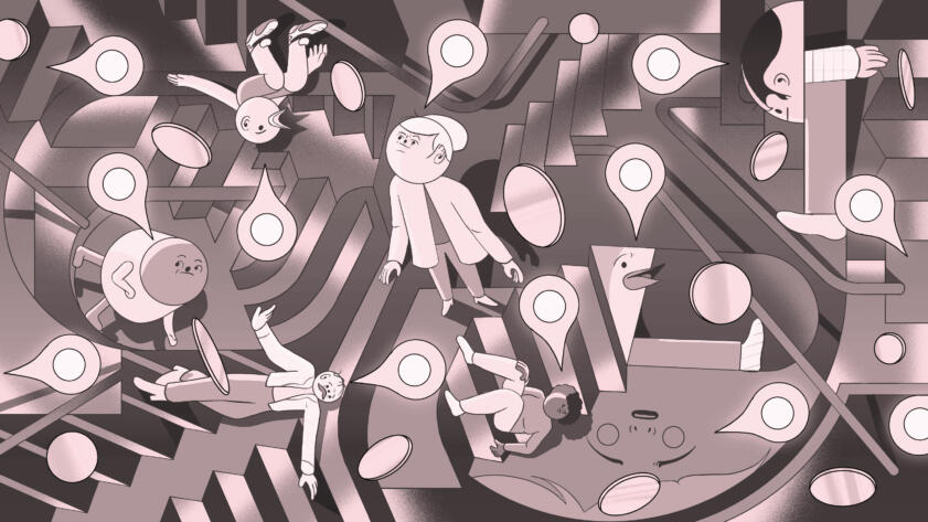 Illustration of several abstract characters standing in a maze of stairs. Location pins and coins are scattered throughout the piece.